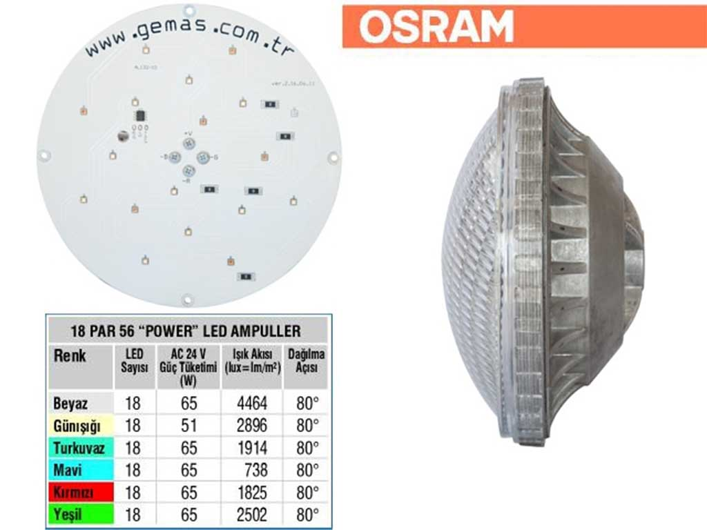 OSRAM Tek Renkli Par 56 18 Power LED Ampul