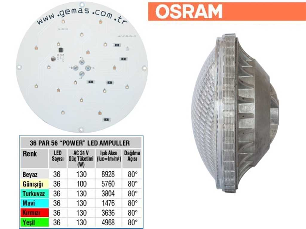 OSRAM Tek Renkli Par 56 36 Power LED li Ampul