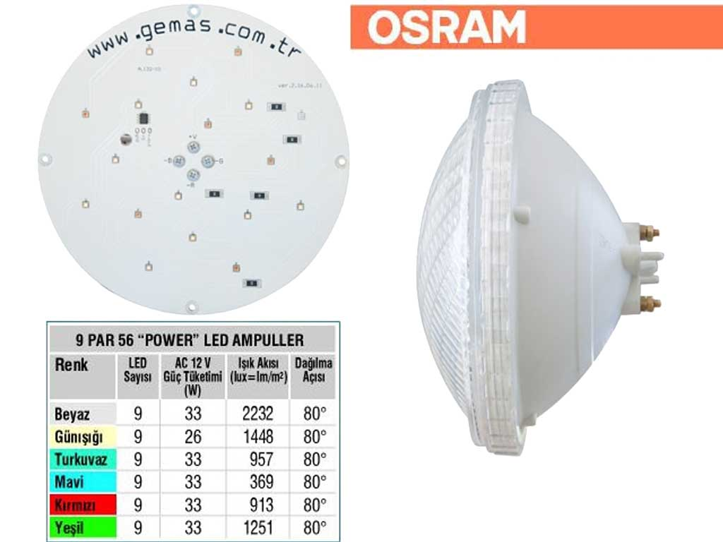 OSRAM Tek Renkli Par 56 9 Power LED Ampul