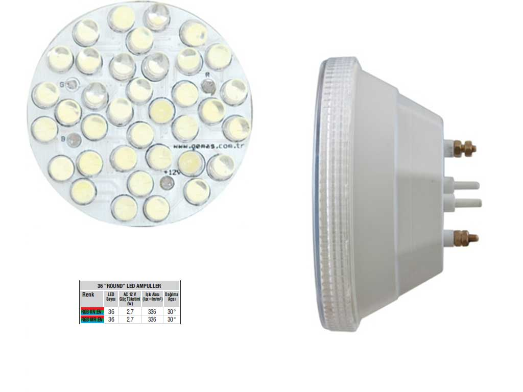 Rainbow 36 LED Ampul  Mini LED   RGB Renkli