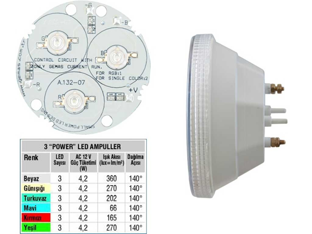 Tek Renkli 3 Power LED Ampul