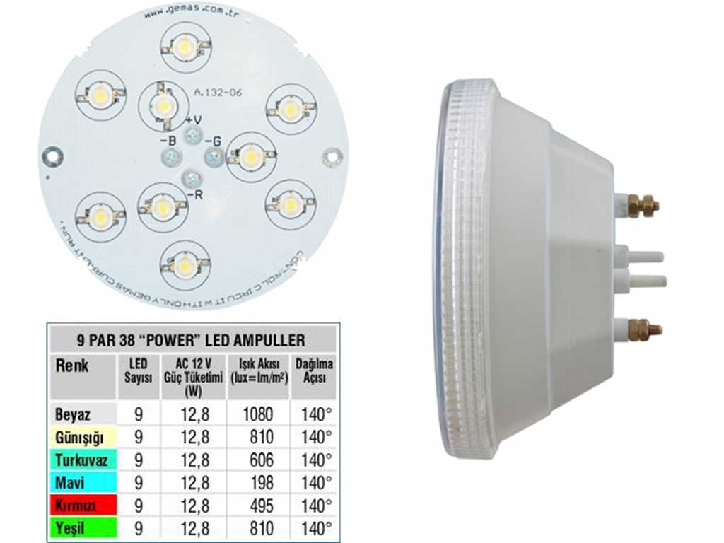 Tek Renkli 9 Par 38 power Led Ampul