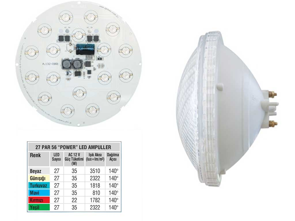 Tek Renkli Par 56   27 Power LED li Ampul